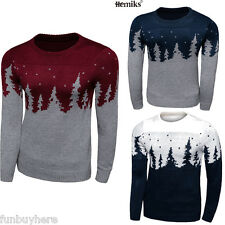 Men's Knitted Xmas Jumper Sweater Christmas Tree Casual Warm Sweater Tops