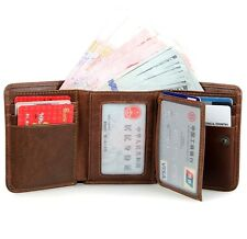Men's Vintage Top ITALIAN Genuine Leather Trifold Wallet Purse Brown Luxury New