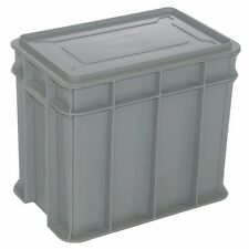 Award MULTISTACK STORAGE CRATE WITH LID Pad Lockable, GREY *Aust Made- 9L Or 26L