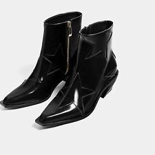 ZARA AW 2016 STARS HIGH-HEEL ANKLE BOOTS BLACK STAR 7156/101