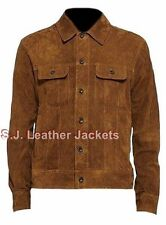 Men's Fashion Cow Suede Brown Leather Jacket / Coat