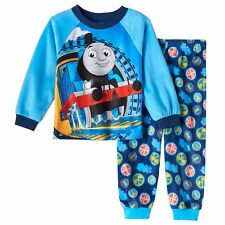Toddler Kids Thomas the Tank Engine Blue Pajama Top/Bottoms Set 2T 3T 4T Fleece