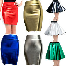 Womens Sexy High Waist Faux Leather Skirt Slim Party Pencil Skirt Dress Clubwear