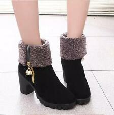Women's Winter Boots Fur Suede Warm Ankle Martin Snow Platform High Heel Shoes