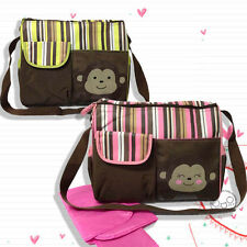 Baby Diaper Nappy Shoulder Bag Mummy Handbag Changing Pad Stripes Monkey Print