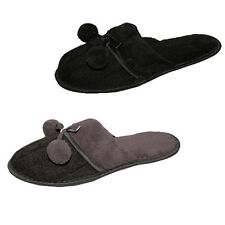Ladies Knitted Top Slippers Mule Slippers With Bow & Pompom In 2 Colours