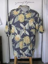 TOMMY BAHAMA Blue/Grey Yellow FLORAL Textured HAWAIIAN SILK MENS SHIRT M