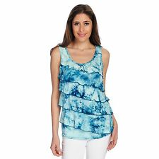 OSO Casuals Knit Tie-Dye Scoop Neck Ruffle Front Tiered Tank Top