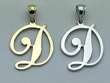 "14K Gold Alphabet Initial Letter ""D"" Charm Pendant in Yellow, White or Rose Gold"