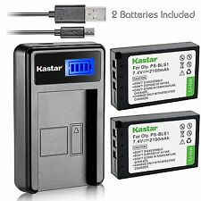 Kastar Battery and LCD Slim USB Charger for Olympus PS-BLS1 E-620 P3 PL3 PM1