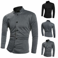 Stylish Mens Coat Casual Stand Collar Slim Fit Long Sleeve Short Jacket