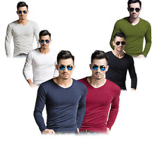 New Men's V Neck Tops Tee Shirt Slim Fit Long Sleeve Solid Color Casual T-Shirt