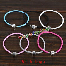 1x Fashion Leather Bracelet Chain Bangle Fit European Charms Beads Buckle
