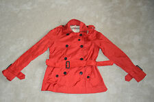 Burberry Brit Red Belt Double Breasted Mac Jacket Trench Coat Womens UK 6 / US 4