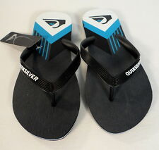 Quiksilver Molokai New Wave Pan Black Rubber Thong Sandals Flip Flops Mens NWT