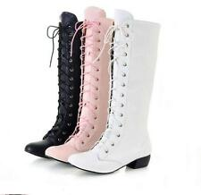 Womens lace up wedge heel knight boots cosplay riding pointy toe knee high boots