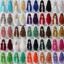 21 Colors Full WigsLong Hair Wig Curly Wavy Synthetic Anime Cosplay Party Women