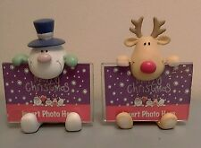 Christmas Snowmen & Reindeer Name Card Photo Place Holders (Pair) Table Decor