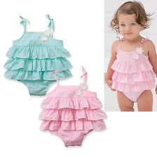 Newborn Baby Girl Ruffle Romper Lace Cotton Bodysuit Petti Layer Jumpsuit Outfit