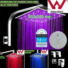 Square LED 3 Colours Light Brass Handheld Shower Head Set Bath Spout Mixer Tap