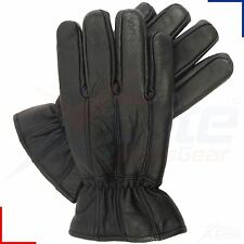 Mens Black 100% Real Leather Winter Elasticated Thermal Warm Driving Gloves