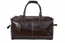 HOLDALL brown Large Weekend Duffle Travel Gym large capacity Real Leather Bag