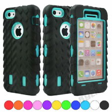 Heavy Black Tire Tread Rugged Silicone PC Combo Shockproof Case Shell For iPhone