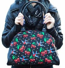 Liquorbrand Cherry Skull Bowler Bag Gothic Rockabilly Alternative Pin Up Derby
