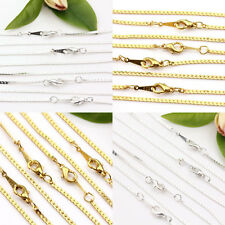 2/10Pcs Nice Necklace Gold/Silver Plated Flat Chains Clasp Jewelry Finding 43cm