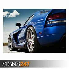 DODGE VIPER BLUE (AA321) CAR POSTER - Photo Picture Poster Print Art A0 to A4