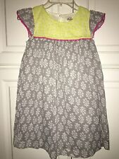 NWT 6/7 or 7/8 Mini Boden Crinkly Dress Pink & Gray  w/ Pink Pom Pom Trim