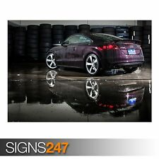 AUDI TT-RS IN BLACK CHERRY (AA657) CAR POSTER - Poster Print Art A0 A1 A2 A3