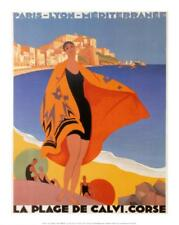 La Plage de Calvi Art Print by Broders, Roger Wall Decor Art Home New