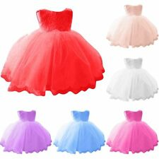 Girls Formal Lace Dress 0-6Y Baby Bowknot Princess Floral Wedding Party Dresses
