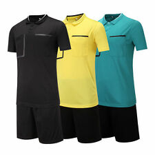 2pcs/Set Men's Soccer football referee Jersey Sport Short Sleeve T-shirts Suit