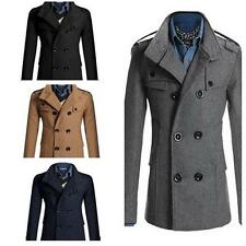 Hot Mens Double Breasted Coat Suit Slim Casual Jacket Outwear Coat  E