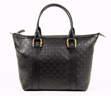 Gucci GG Guccissima Black Leather Bamboo Tote