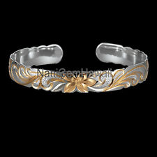 Hawaiian Bangle Plumeria Scroll 925 Sterling Silver cut out Bracelet Silver Gold