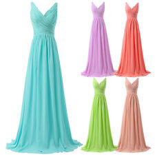 New Long Chiffon Formal Evening Party Ball Gown Prom Bridesmaid Dress Size 2-16