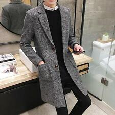 Stylish Men's Slim Fit Lapel Jacket Trench Parka Long Coat Wool Blend Overcoats