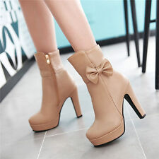 Womens High Heels Platform Ankle Boots Round Toe Party Pumps Elegant Bow Shoes