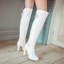 Buckle Strap Boots Womens Zip High Heel Over The Knee Knight Boots#BLACK/WHITE