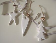 Rustic White Heart Star Tree Distressed Wooden Christmas Hanging Xmas Decoration