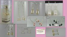 New Sterling Silver Earrings Swarovski Elements Pearls Crystals Dangle Gift Box