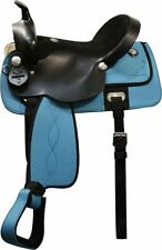 "16"", 17"" Double T nylon cordura saddle w/suede leather seat and leather jockeys"