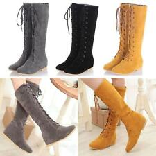 Womens Ladies Lace Up Round Toe Flat Riding Faux Suede Knee High Boots US10.5