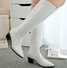 Womens Cuban Heel Pointed toe Knee High Riding Equestrian Boot Zip Shoes Reteo