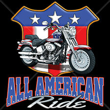 All American Ride Motorcycle Chopper USA Biker Patriotic T-Shirt Tee