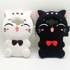 Cute For Samsung Galaxy Case Silicone Lucky Cat White Black Rubber Back Cover