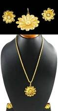 Handmade Indian Fashion Jewelry # ! Gold Plated Pendant Locket Earrings set # !